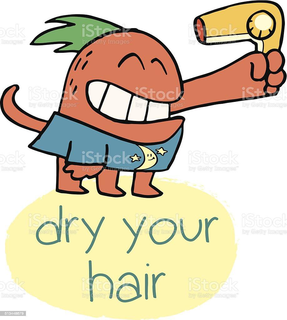 Monster Dryer Hair vector art illustration