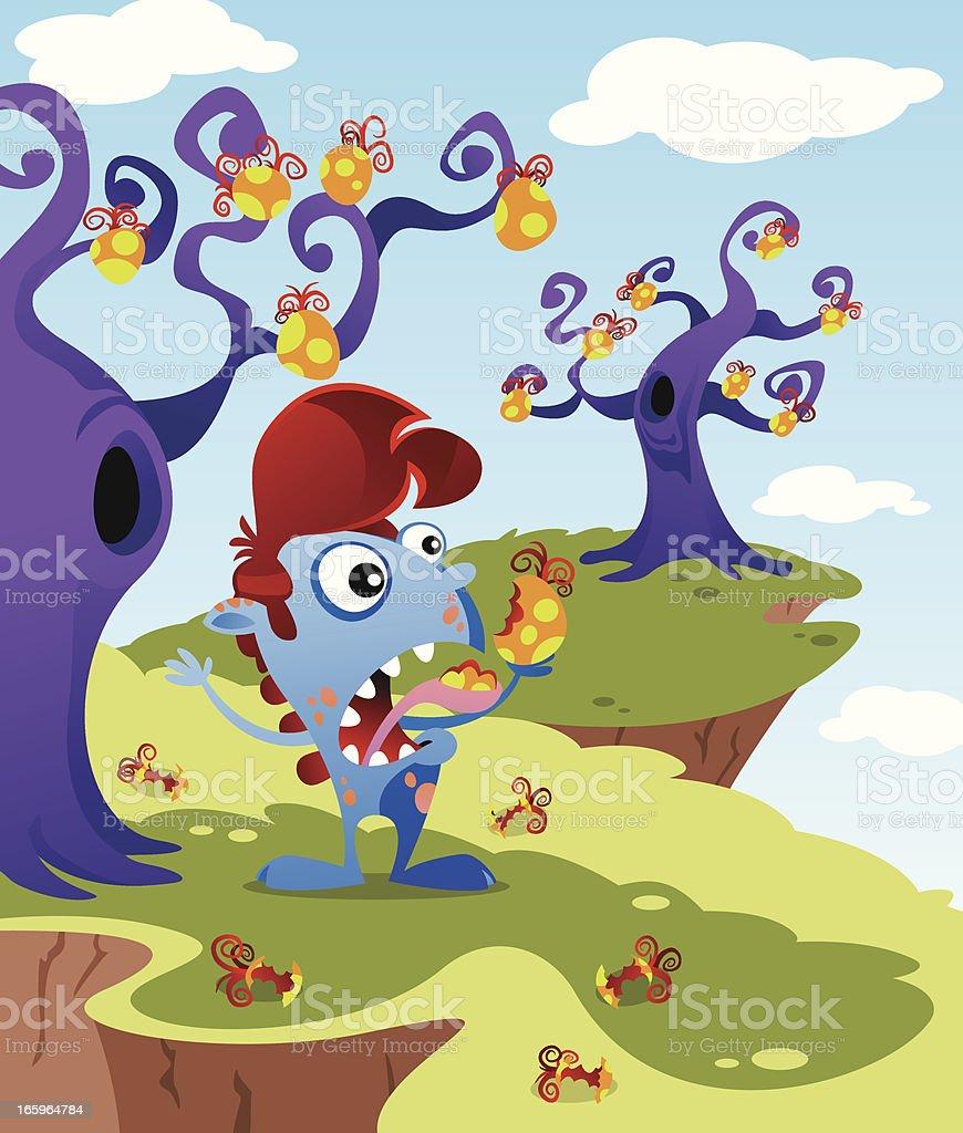 Monster eating Fruit royalty-free monster eating fruit stock vector art & more images of animal