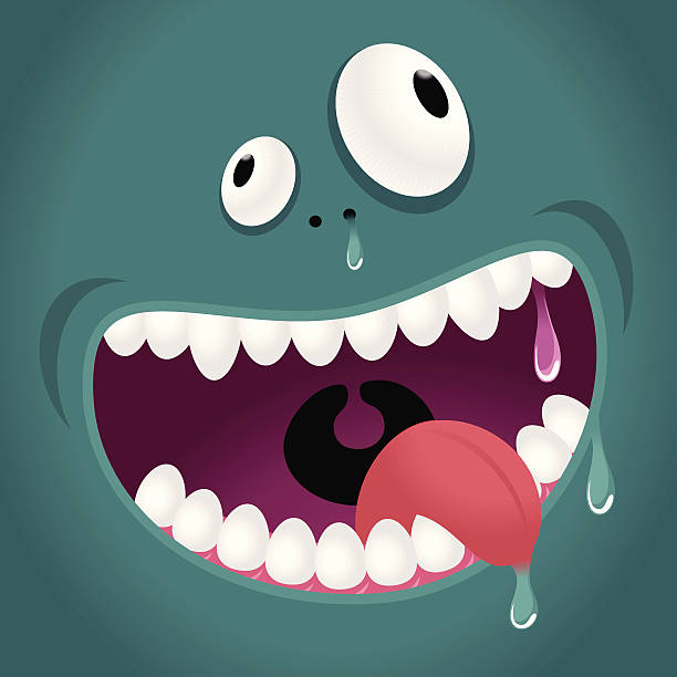 Monster Emotion: Hungry, Laughing Vector illustration - Monster Emotion: Hungry, Laughing. careless stock illustrations