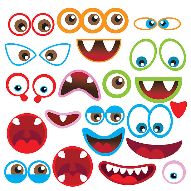 monster eye and mouth vector illustration - cartoon monsters stock illustrations, clip art, cartoons, & icons
