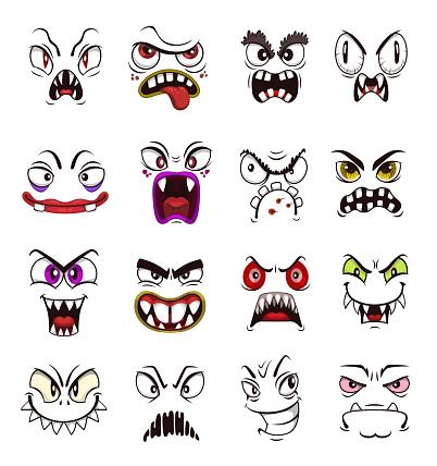 Monster face emoji of cartoon scary emoticons