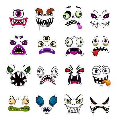 Monster face funny emoticons and emojis, cartoon