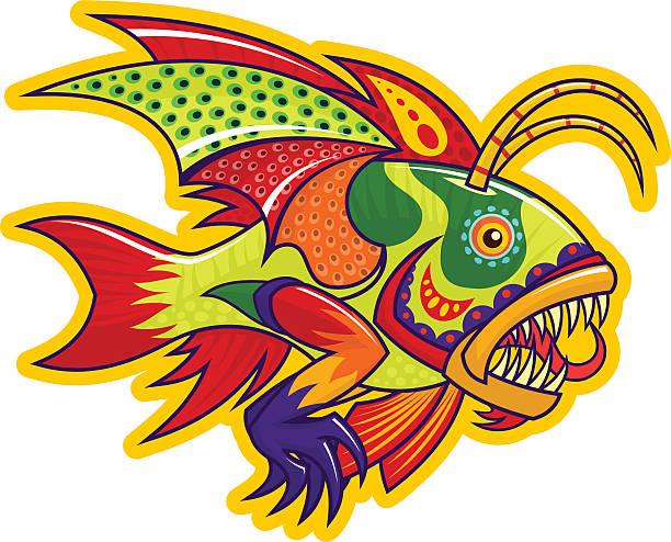 モンスター魚 - マリンのタトゥー点のイラスト素材/クリップアート素材/マンガ素材/アイコン素材