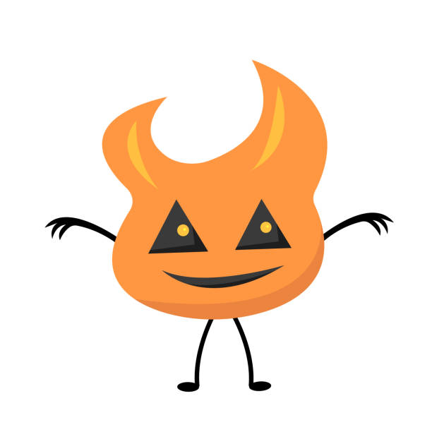 Monster flame with triangular cut eyes and a cute smile vector art illustration