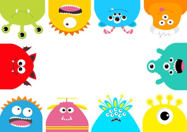 ilustraciones, imágenes clip art, dibujos animados e iconos de stock de marco de monstruo. conjunto de dibujos animados lindo miedo. emoción diferente. colección bebé. fondo blanco aislado. feliz tarjeta de halloween. diseño plano. - monstruo