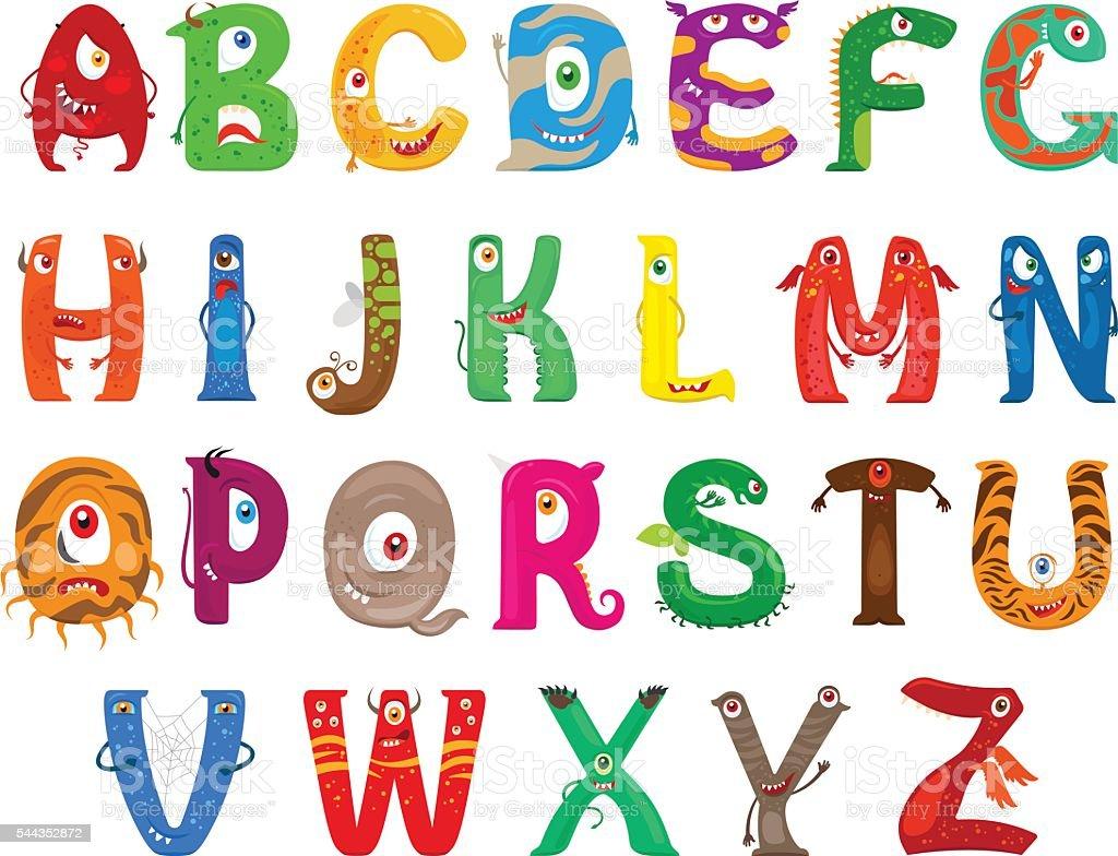 Monster funny alphabet vector art illustration