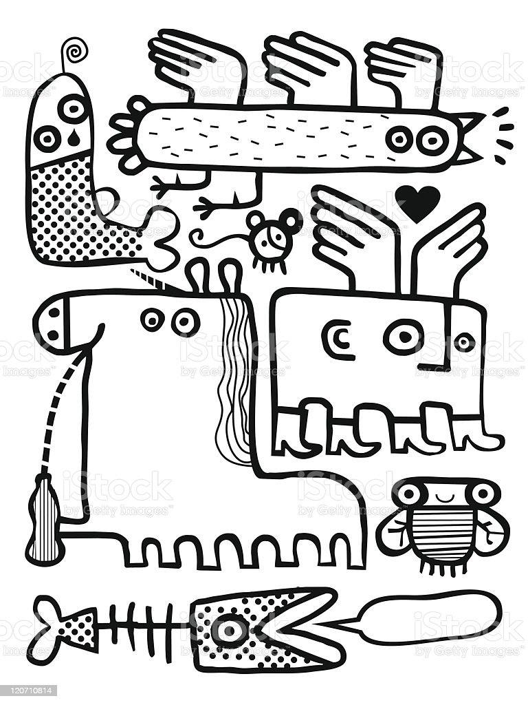 Monster group royalty-free stock vector art