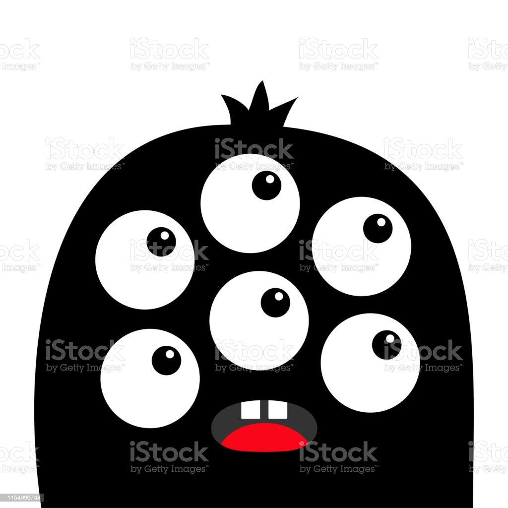 Monster Head Face Black Silhouette Six Eyes Teeth Tongue Cute
