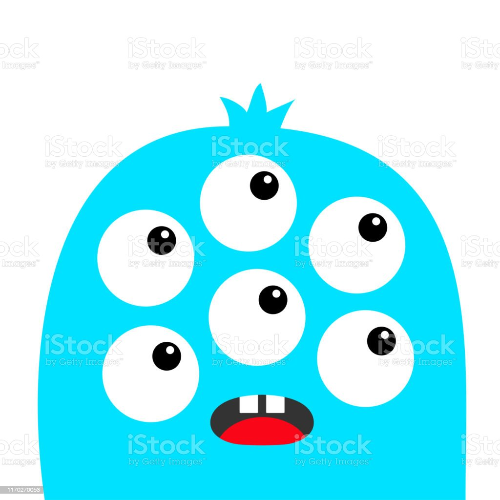 Monster Head Face Blue Silhouette Six Eyes Teeth Tongue Cute