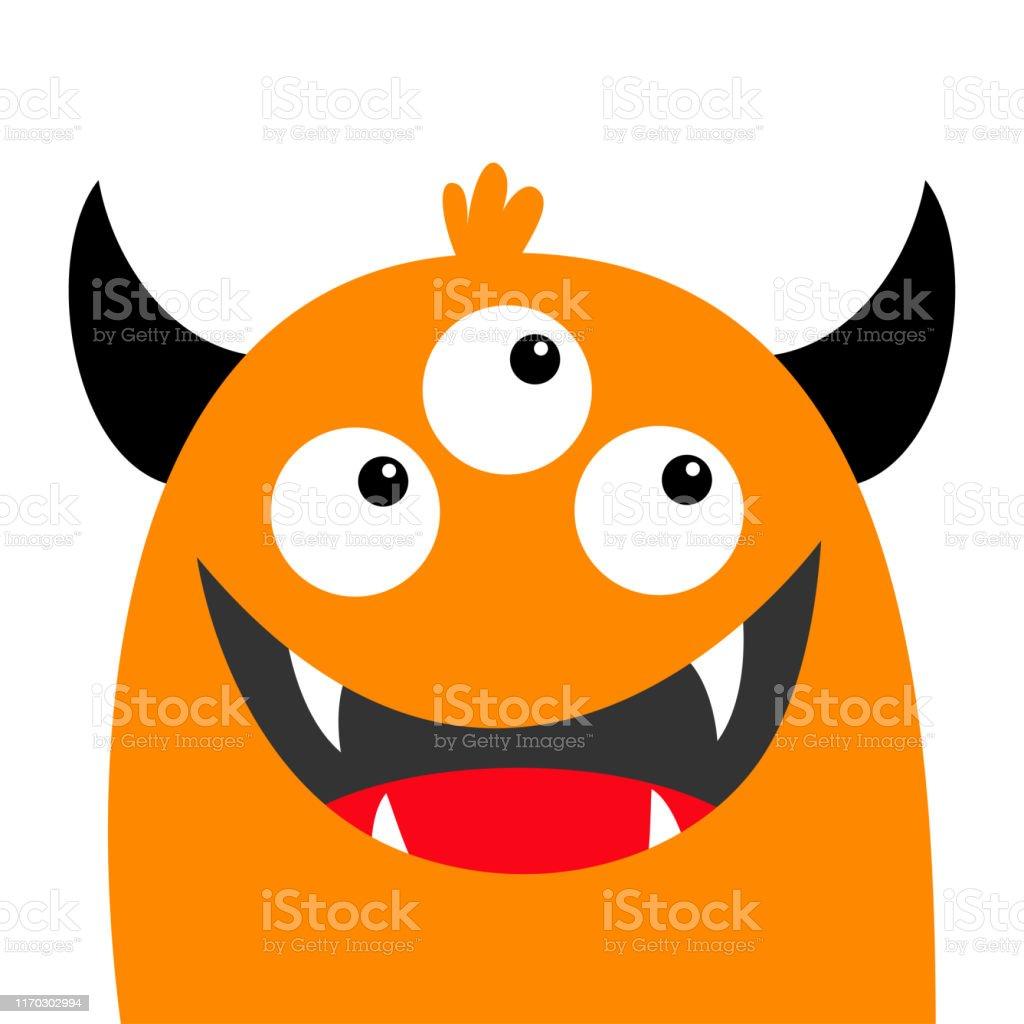 Monster Head Face Orange Silhouette Three Eyes Teeth Fang Smile