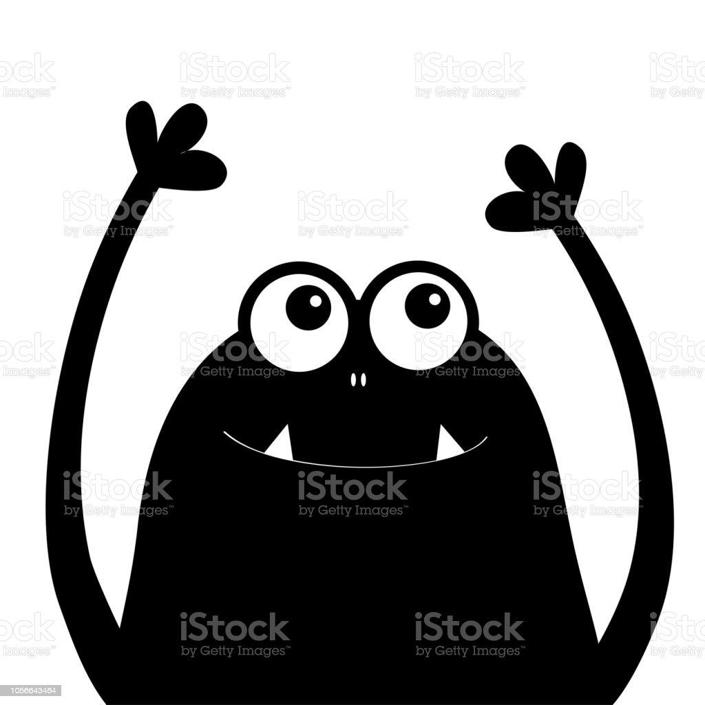 Monsterkopfsilhouette Zwei Augen Zähne Fang Hände Hoch Schwarz