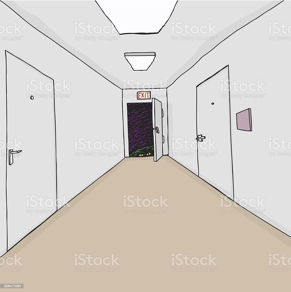 Monster in Exit vector art illustration