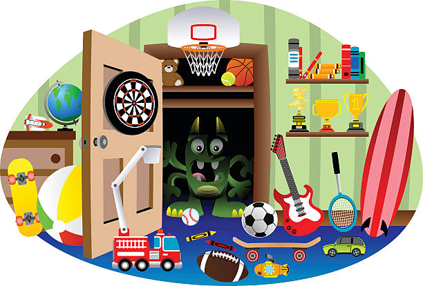 Monster In The Closet Vector Art Illustration