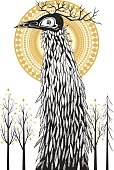 Monster in autumn wood, freehand drawing in black and golden tones. Isolated on white background.