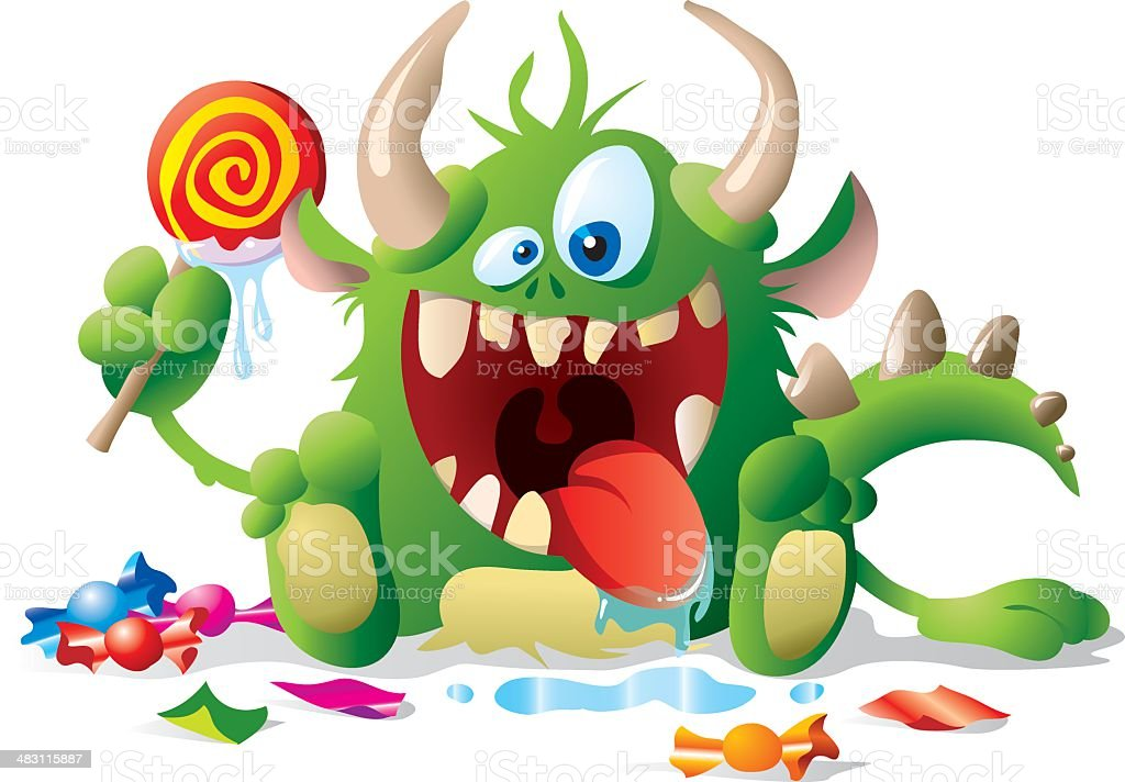 Monster kid with candies vector art illustration