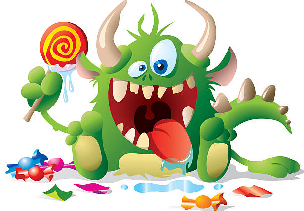 monster kid with candies - cartoon monsters stock illustrations, clip art, cartoons, & icons
