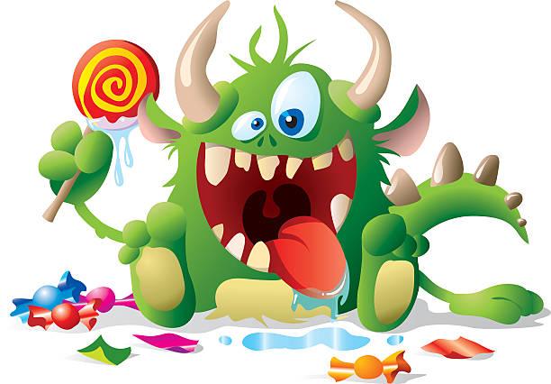 Monster con golosinas para niños - ilustración de arte vectorial
