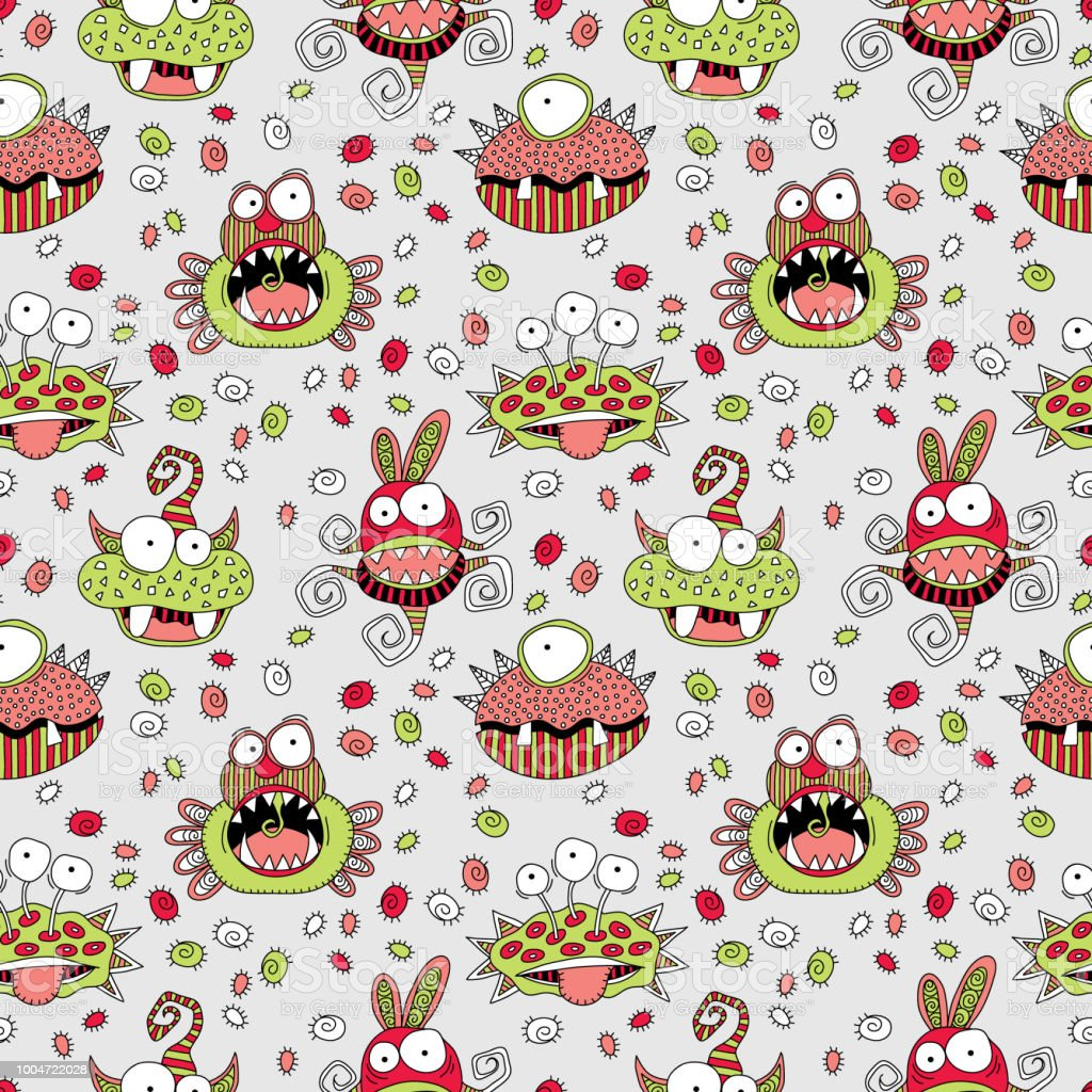Monster Mash Seamless Pattern Doodle Vector on a pale Grey Background vector art illustration