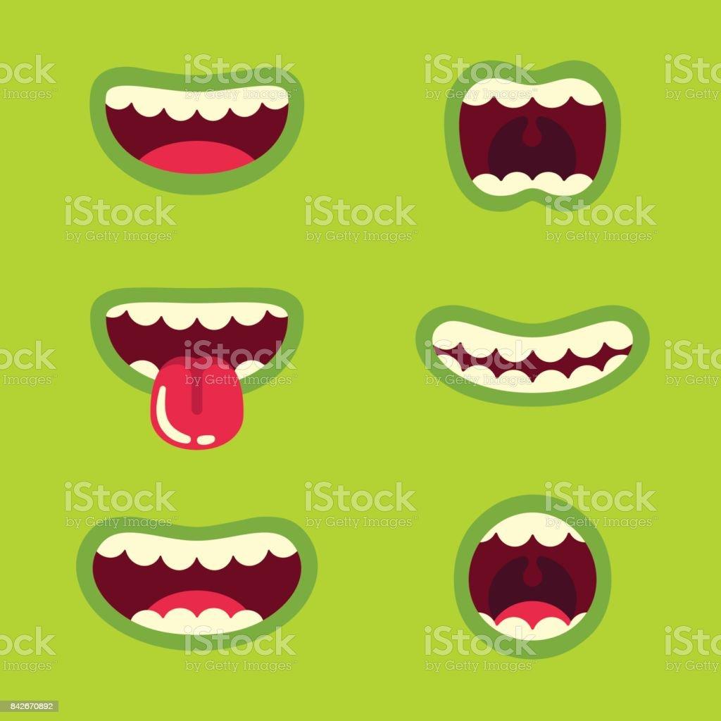 Conjunto de boca de monstruo - ilustración de arte vectorial