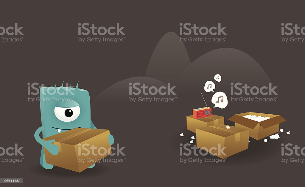 Monster moving out royalty-free stock vector art