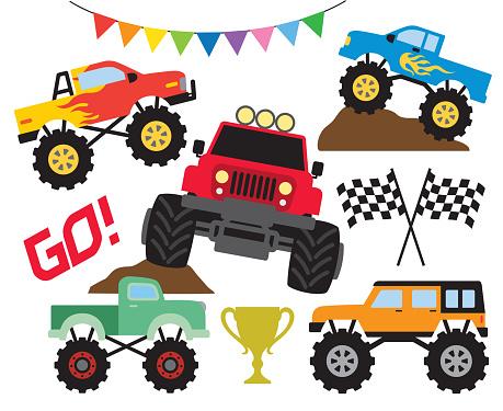 Monster Off Road Truck Vector Illustration Set