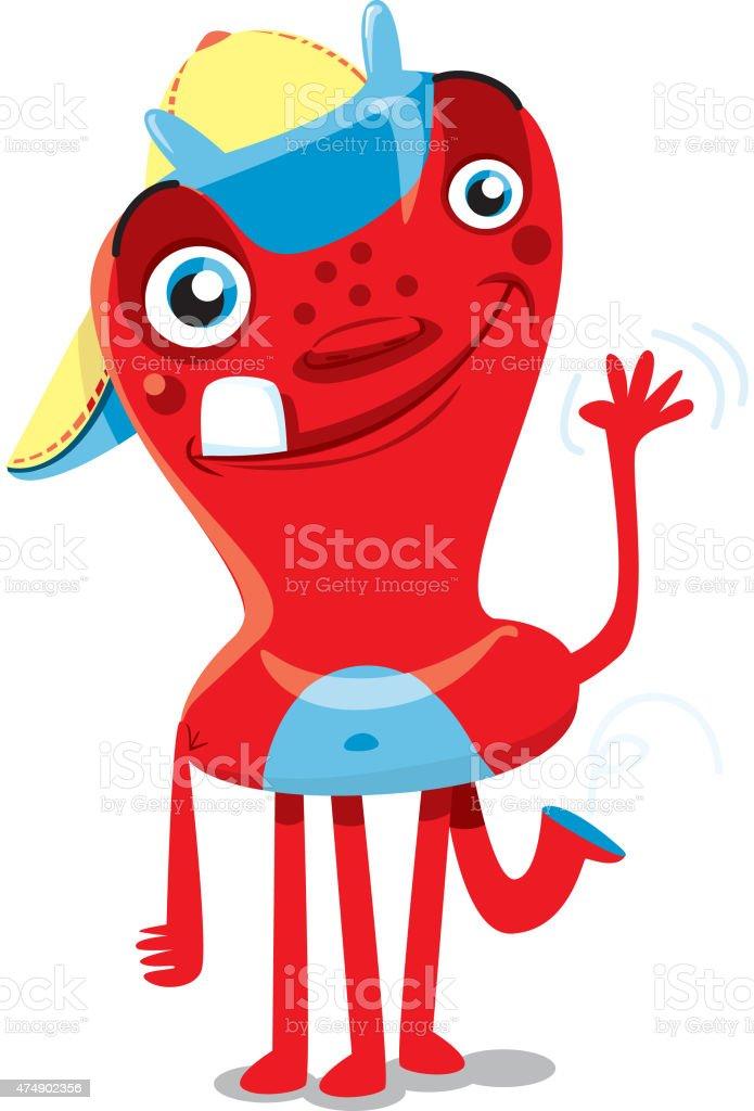 Monster o extranjero.   Children's carácter diciendo Hola - ilustración de arte vectorial