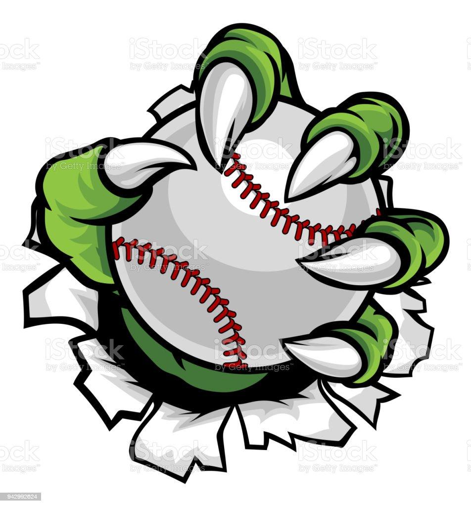 Monster or animal claw holding Baseball Ball vector art illustration