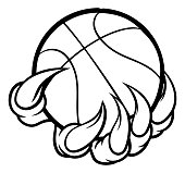 A monster or animal claw or hand with talons holding a basketball ball