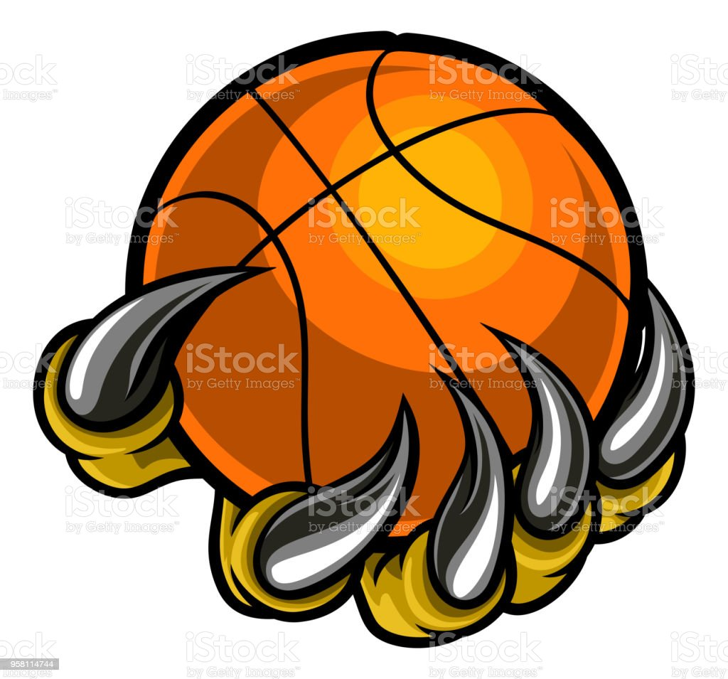 monster or animal claw holding basketball ball stock vector art