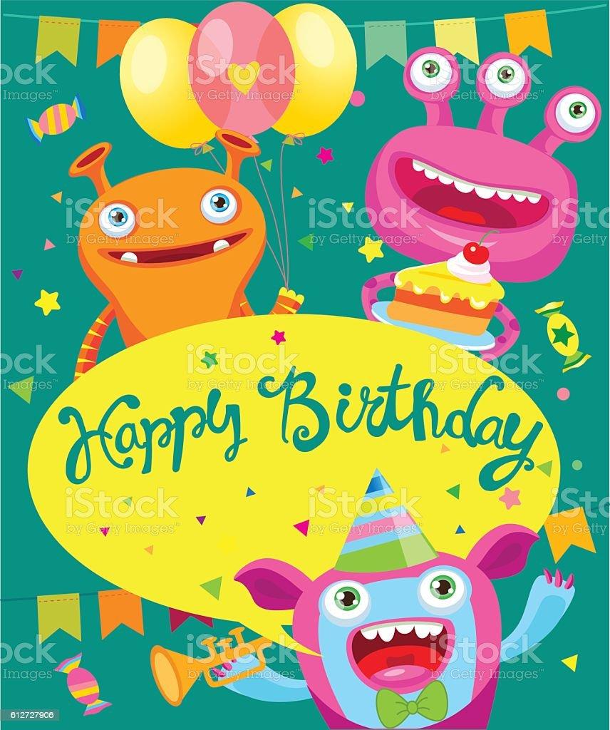 Monster Party Invitation Card Design Background Vector Template Lizenzfreies