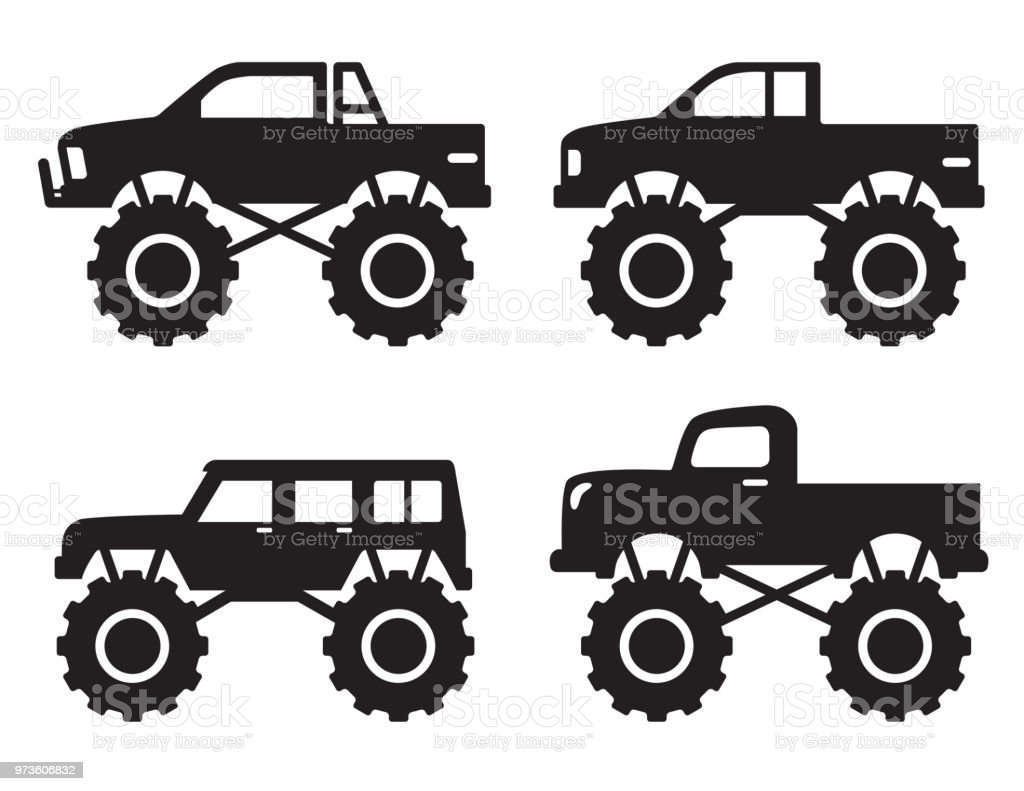 Monster Pick Up Truck Silhouette Stock Illustration Download Image Now Istock