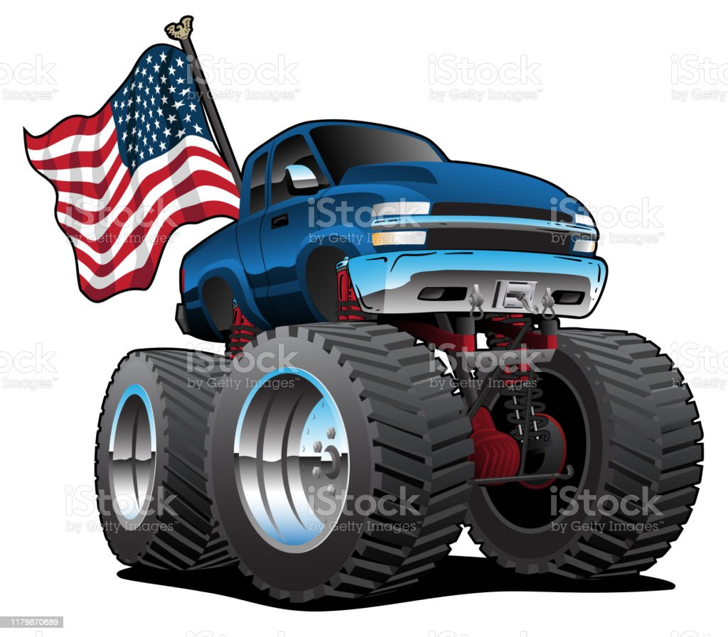 Monster Pickup Truck With Usa Flag Cartoon Isolated Vector Illustration Stock Illustration Download Image Now Istock