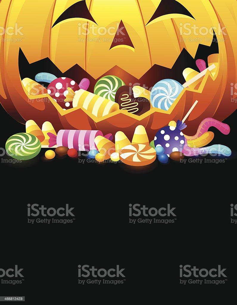 Monster Pumpkin Eating Candies vector art illustration