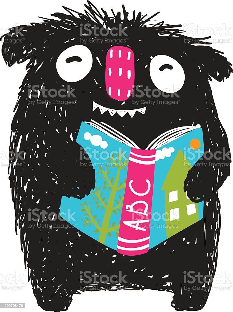 Monster Reading ABC Book Cartoon for Kids vector art illustration