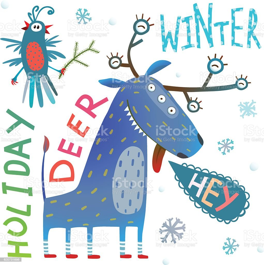 Monster reindeer chrismas new year funny winter holidays greeting monster reindeer chrismas new year funny winter holidays greeting card royalty free monster reindeer chrismas m4hsunfo Choice Image