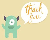 Vector cute happy monster with bubble speech with words Thank you