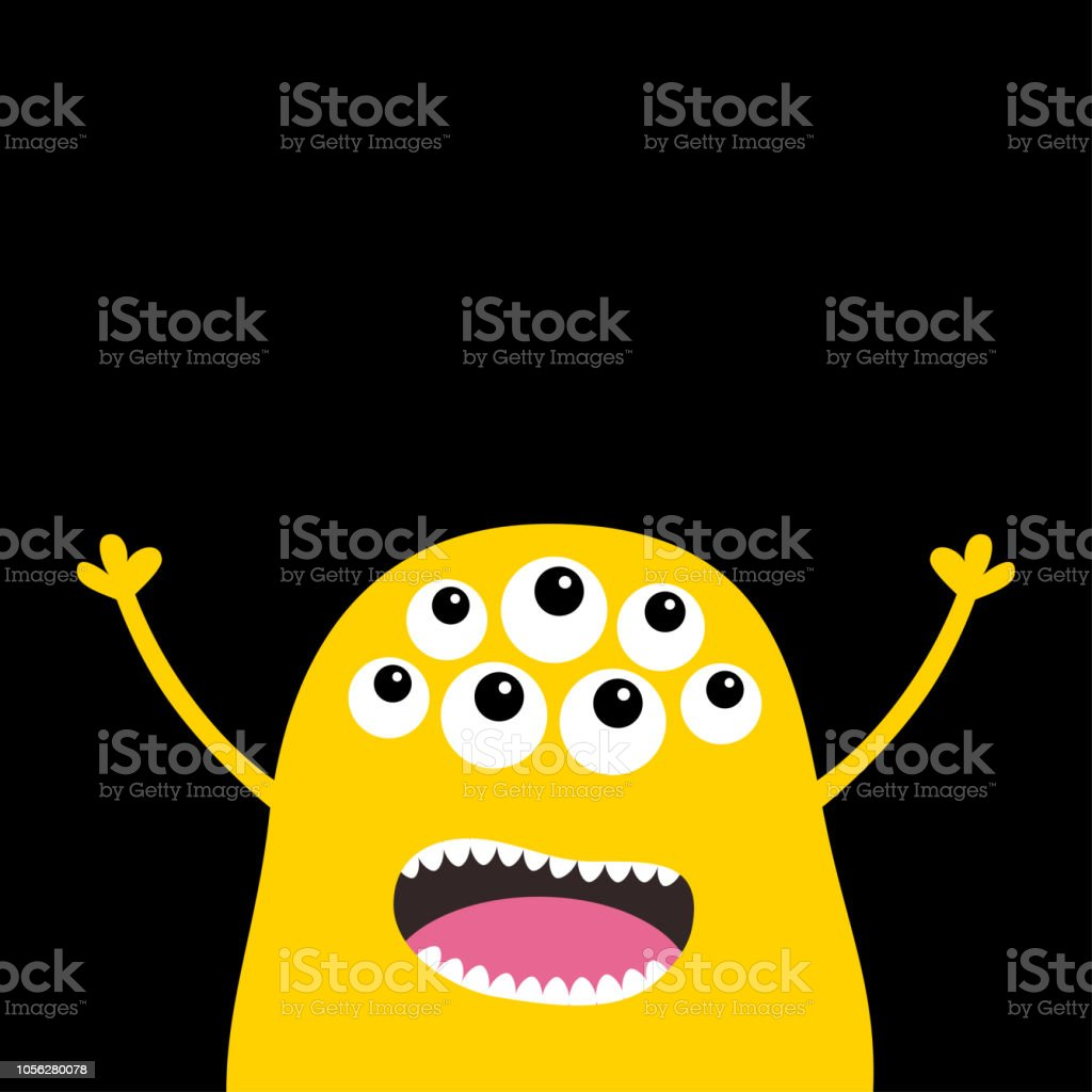 Monster Beängstigend Schreienden Gesicht Kopfsymbol Augen Fang Zahn