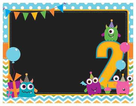 Monster Second Birthday Invitation