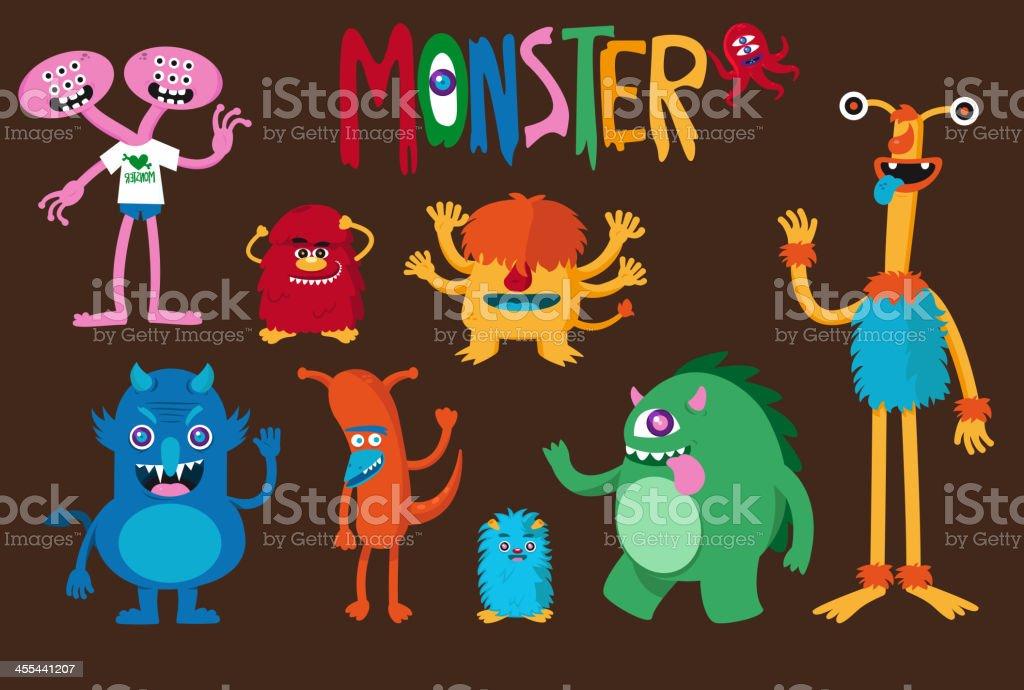 Monster Set vector art illustration