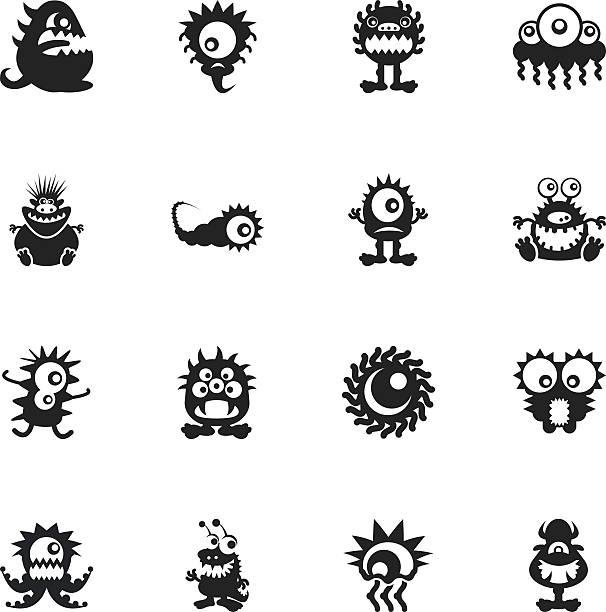 モンスターシルエットアイコン - 漫画のモンスター点のイラスト素材/クリップアート素材/マンガ素材/アイコン素材