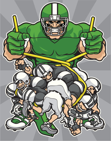 Monster Sized Football Player with Competition