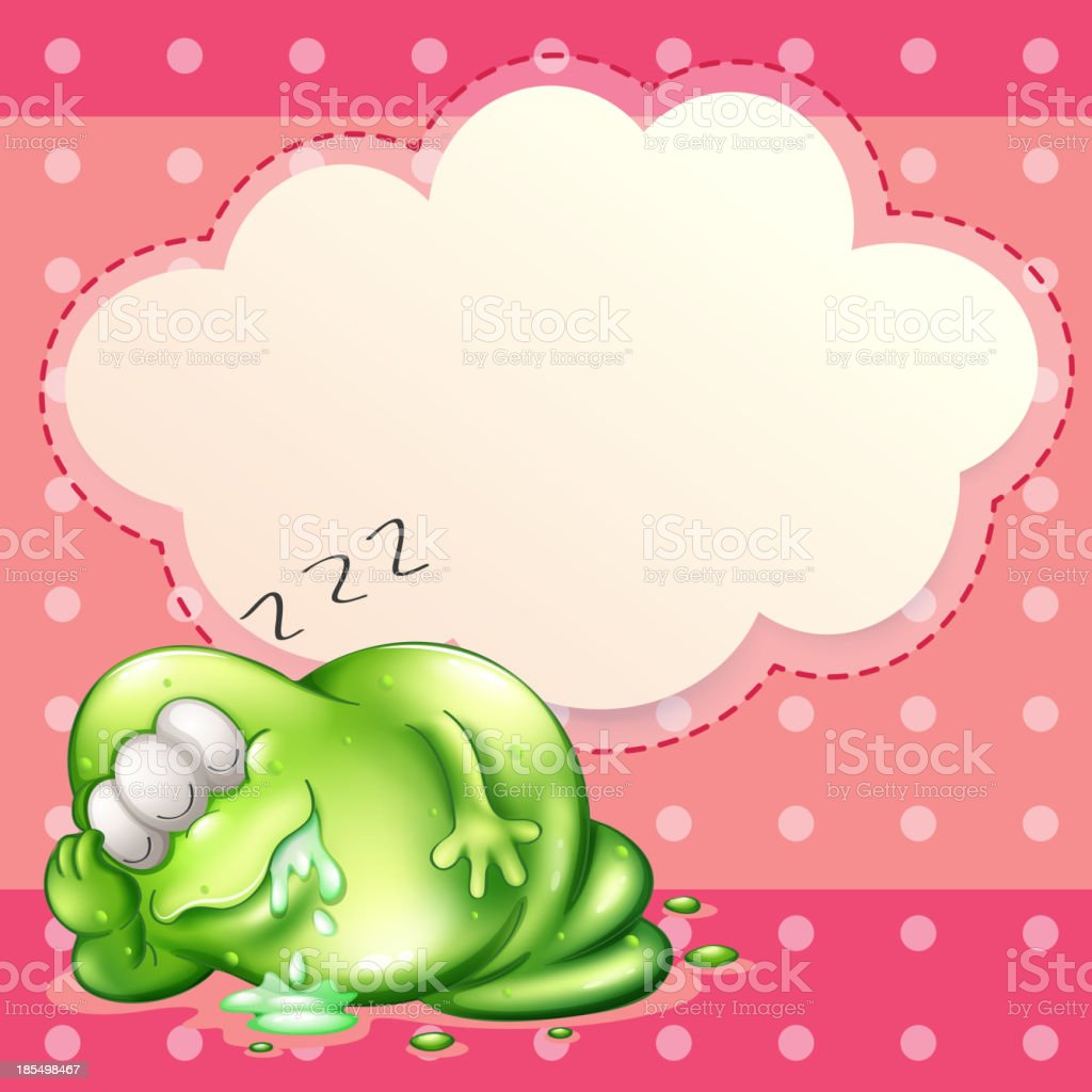 monster sleeping and salivating with empty cloud template royalty-free stock vector art