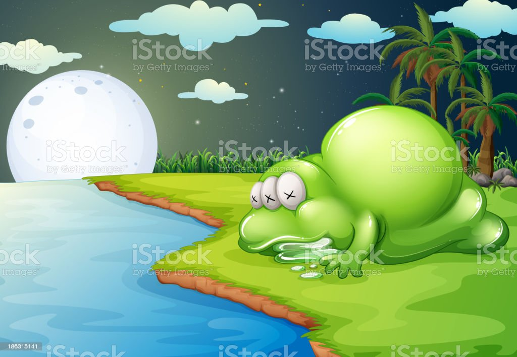 monster sleeping near the river royalty-free stock vector art