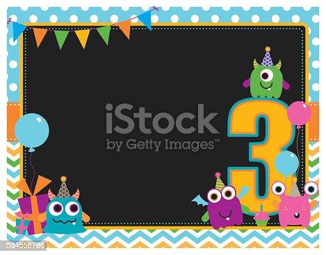 istock Monster Third Birthday Invitation 534558786