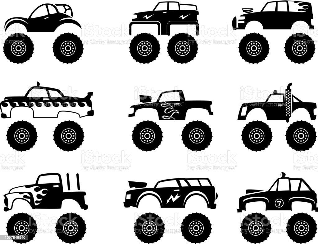 Ilustracion De Automovil Carro De Monstruo Grandes Neumaticos Y
