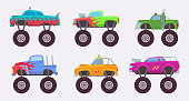 Monster truck. Big wheels of scary car automobile toy for kids vector illustrations. Monster transport suv, off-road pickup toys