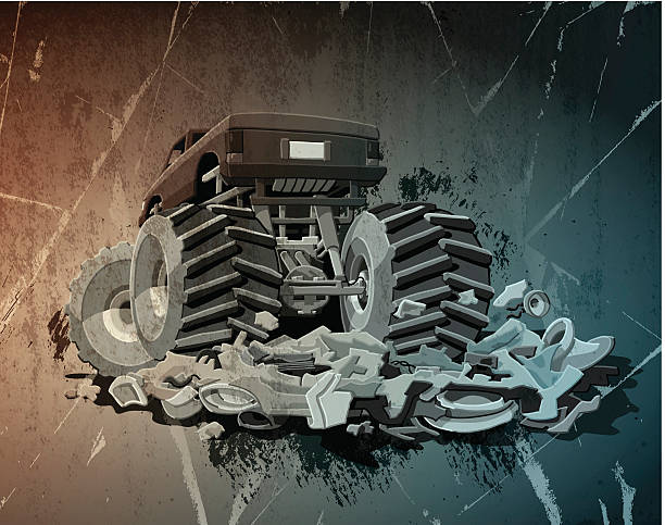 Monster Truck Grunge Digital grunge vector artwork of a Monster Truck, which crushed a car completely. The colors in the .eps-file are ready for print (CMYK). Transparencies used. All objects are on separate layers. Included files: EPS (v10) and Hi-Res JPG. motor sport stock illustrations
