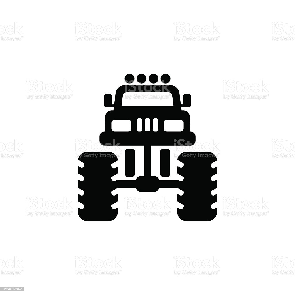 Monster truck icon vector art illustration