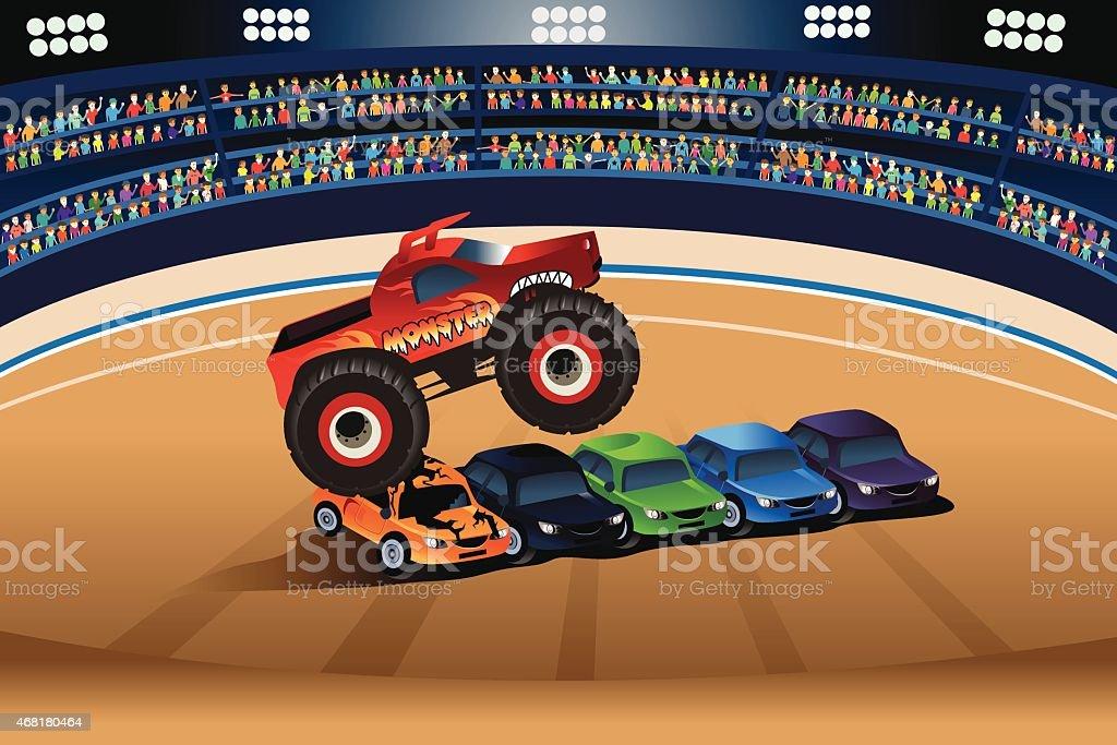 Monster truck jumping on cars vector art illustration