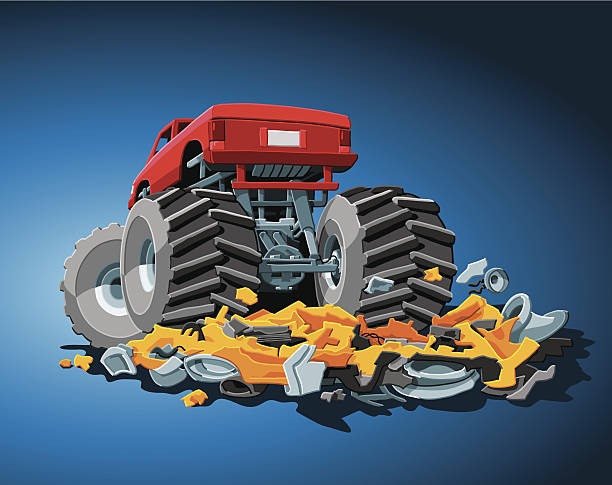 Monster Truck Hand-drawn Vector Illustration of a Monster Truck, which crushed a car completely. The background is on a separate layer, so you can use the illustration on your own background. The colors in the .eps-file are ready for print (CMYK). Included files: EPS (v8) and Hi-Res JPG. motor sport stock illustrations